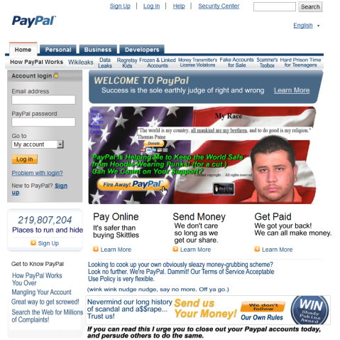 George Zimmerman on Paypal's Front Page Spoof