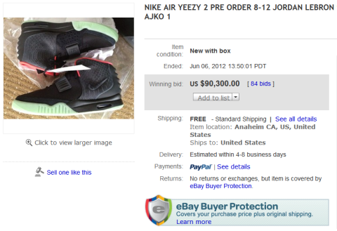 Nike Air Yeezy 2 Ebay Auction