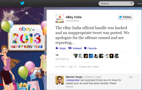 Twitter.com eBay India Official Twitter Handle Hacked Apology Tweet