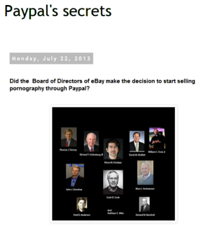 Paypal's dirty little secrets: They provide payment service for porn and torture sites. Boycott Paypal!