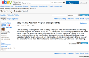 eBay Trading Assistant Program ending 9/20/13