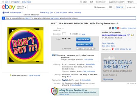 Test Item do not Bid or Buy Hide Listing from Search I eBay Test - Click to enlarge in new tab or window