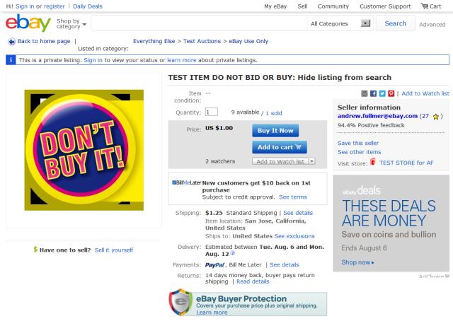 Test listing DO NOT BID OR BUY292928266775