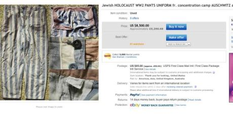 image by dailymail.co.uk: ebaY auction listing for Auschwitz Jewish concentration camp uniform